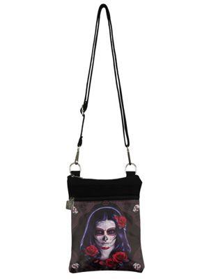 Sugar Skull Black Shoulder Bag 23cm