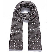 Grey Metallic Foil Triangles Scarf