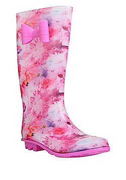 F&F Bow Detail Floral Wellies - Pink