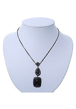 Victorian Style Black Acrylic Square Pendant With Gun Metal Chain Necklace - 38cm Length/ 5cm Extension