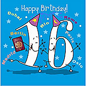 Happy Birthday, 16 Today Boys Greetings Card