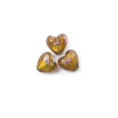 Craft Factory Glass Rose Heart pk3 20mm Gold and Brown
