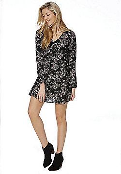 Miss Truth Floral Frill Detail Dress - Black