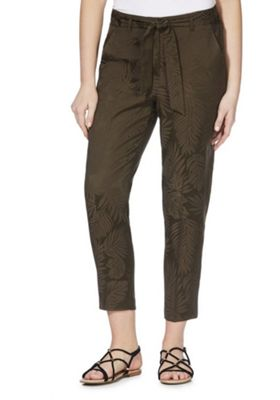 F&F Jacquard Leaf Tapered Trousers Khaki 18