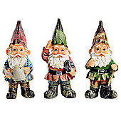 Set of 3 Traditional Small 11cm Garden Gnome Ornaments