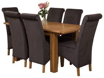 Hampton Extending Kitchen Solid Oak Dining Set Table + 6 Black Fabric Chairs