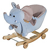 Homcom Baby Ride on Rocking Wooden Toy for Kids 2 in 1 Plush Elephant with Wheels (Blue)