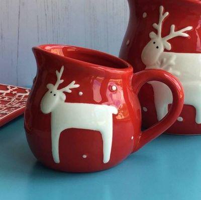 Red Reindeer Christmas Jug - Small
