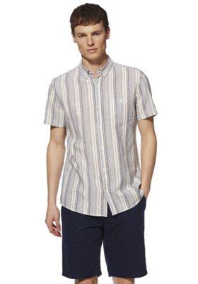 F&F Linen-Blend Striped Short Sleeve Shirt Multi 4XL