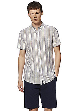 F&F Linen-Blend Striped Short Sleeve Shirt - Multi