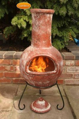 Large Colima Mexican Chimenea in Red