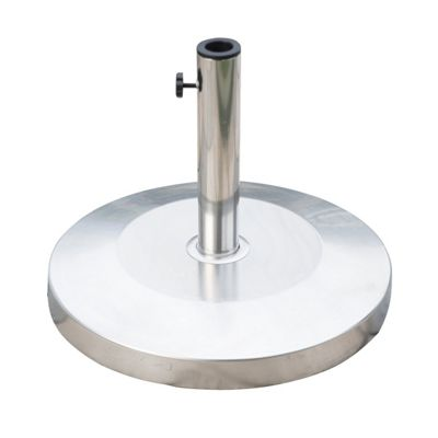 Outsunny 25kg Round Stainless Steel Umbrella Base Stand Parasol Holder - Silver