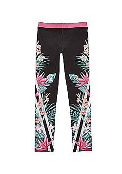 F&F Active Striped Tropical Print Leggings - Black Multi