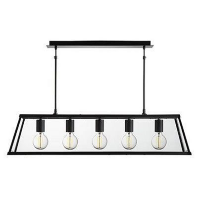 VOYAGER 5 LIGHT LANTERN BAR, MATT BLACK, GLASS