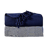 EHC Pack Of 2 Cotton Chevron Throw, Navy Blue