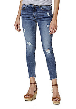 F&F Distressed Frayed Hem Low Rise Skinny Jeans - Mid wash