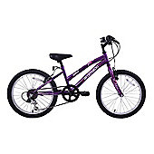 "Ammaco Jewel 20"" Wheel Girls 6 Speed Mountain Bike Purple"
