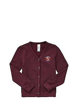 Girls Embroidered Jersey School Cardigan with As New Technology - Burgundy