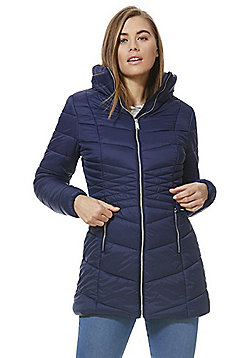 F&F Shower Resistant Padded Long Line Jacket - Blue
