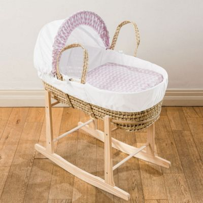 Clair de Lune Exclusive Palm Moses Basket (Pink Chevron)