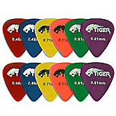 Tiger Guitar Plectrums - Pack of 12 Light to Medium Matte Picks