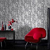 Fresco Fabric Branches Silver Wallpaper
