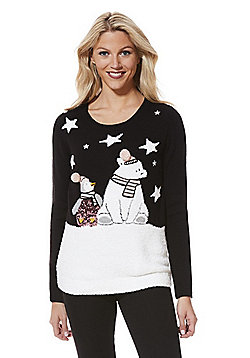 F&F Light-Up Snow Scene Christmas Jumper - Black