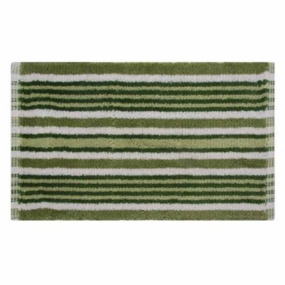 Homescapes Handloomed Striped Cotton Bath Mat Green