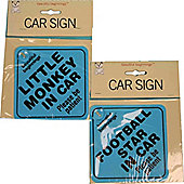 Beautiful Beginnings Car Warning Sign. Football Star Suction Cup 21 x 16 x 1 cm