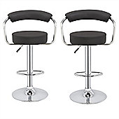 Homegear M1 Kitchen Breakfast Adjustable Chrome Swivel Bar Chair/Stool X2 (Black)