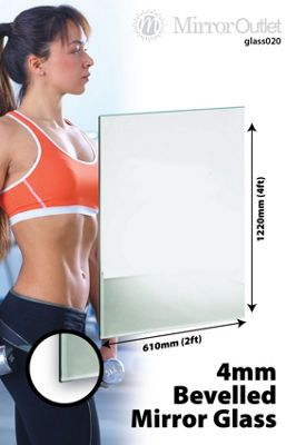 Bevelled Mirror Glass Home Gym Or Bathroom 4Mm Thick 4Ft X 2Ft (122 X 61 Cm)