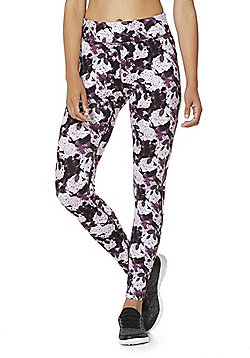 F&F Active Abstract Floral Print Leggings - Purple