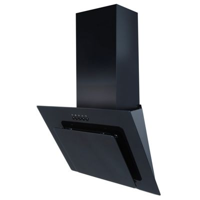 SIA AGL61BL 60cm Black Angled Glass Cooker Hood Extractor & 3m Ducting
