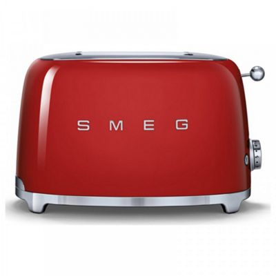 Smeg TSF01RDUK 50's Retro Style 2 Slice Toaster in Red | Defrost, Bagel & Reheat