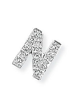 Jewelco London 9ct White Gold - Diamond - N' Initial Charm Pendant -