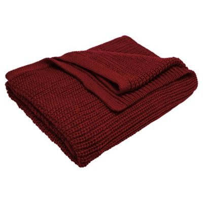 Tesco Chunky Knit Throw Red