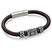 Men's Fred Bennett Brown Leather Bracelet with Celtic Beads