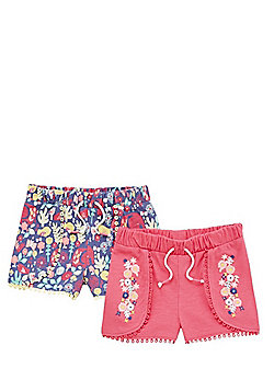 F&F 2 Pack of Picot Trim Jersey Shorts - Multi