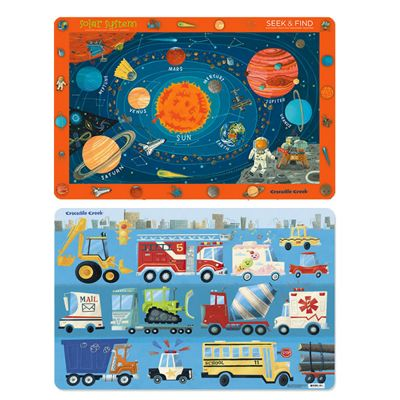 Children's Set of 2 Reversible Placemats - Space & Transport