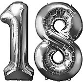 """""""Age 18 Silver Balloons - 34"""""""" Foil"""""""