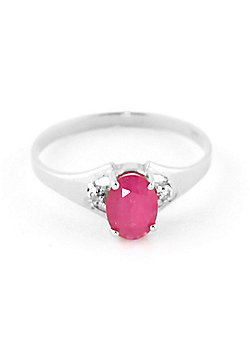 QP Jewellers Diamond & Ruby Oval Desire Ring in 14K White Gold