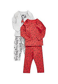 Disney 2 Pack of Mickey Mouse Pyjamas - Red & Grey