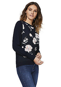 F&F Floral Woven Front Jumper - Navy & Multi