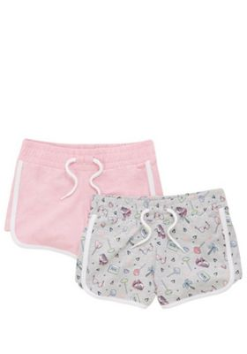 F&F 2 Pack of Contrast Trim Jersey Shorts Grey/Pink 10-11 years