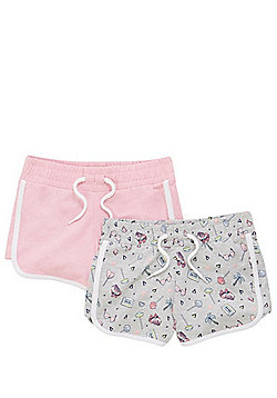 F&F 2 Pack of Contrast Trim Jersey Shorts - Grey/Pink