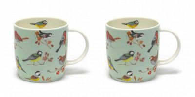 Roy Kirkham RSPB Bird Song Green Mugs, Set of 2