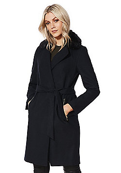 F&F Faux Fur Trim Belted Wrap Coat - Navy