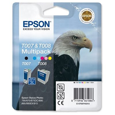 Epson T007 (Black) Plus T008 (Colour) Ink Cartridges for Stylus Photo 790/870/890/1270/1290/1290S/875DC/895/900/915 Printers
