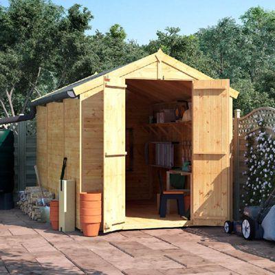 10x6 Tongue and Groove Wooden Garden Shed Double Door Windowless Apex Premium Roof Floor Felt - 10ftx6ft
