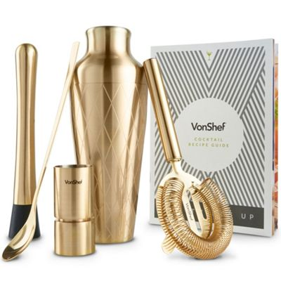 VonShef 6pc Brushed Gold Etched Cocktail Set